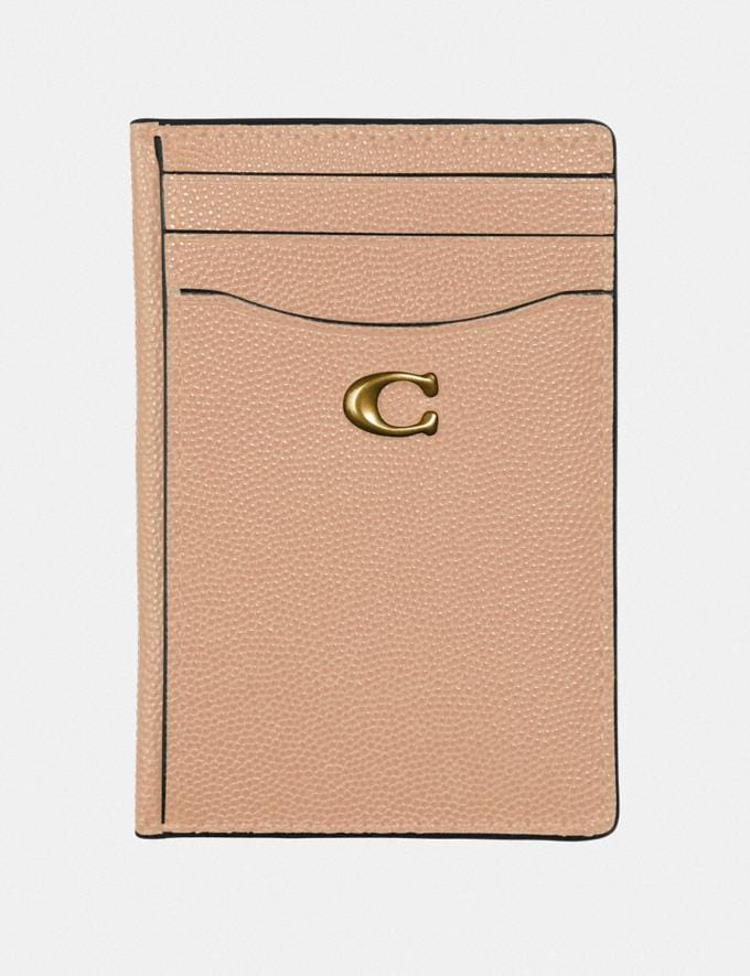 Coach Card Holder Beechwood/Brass Gifts For Her Valentine's Day Gifts