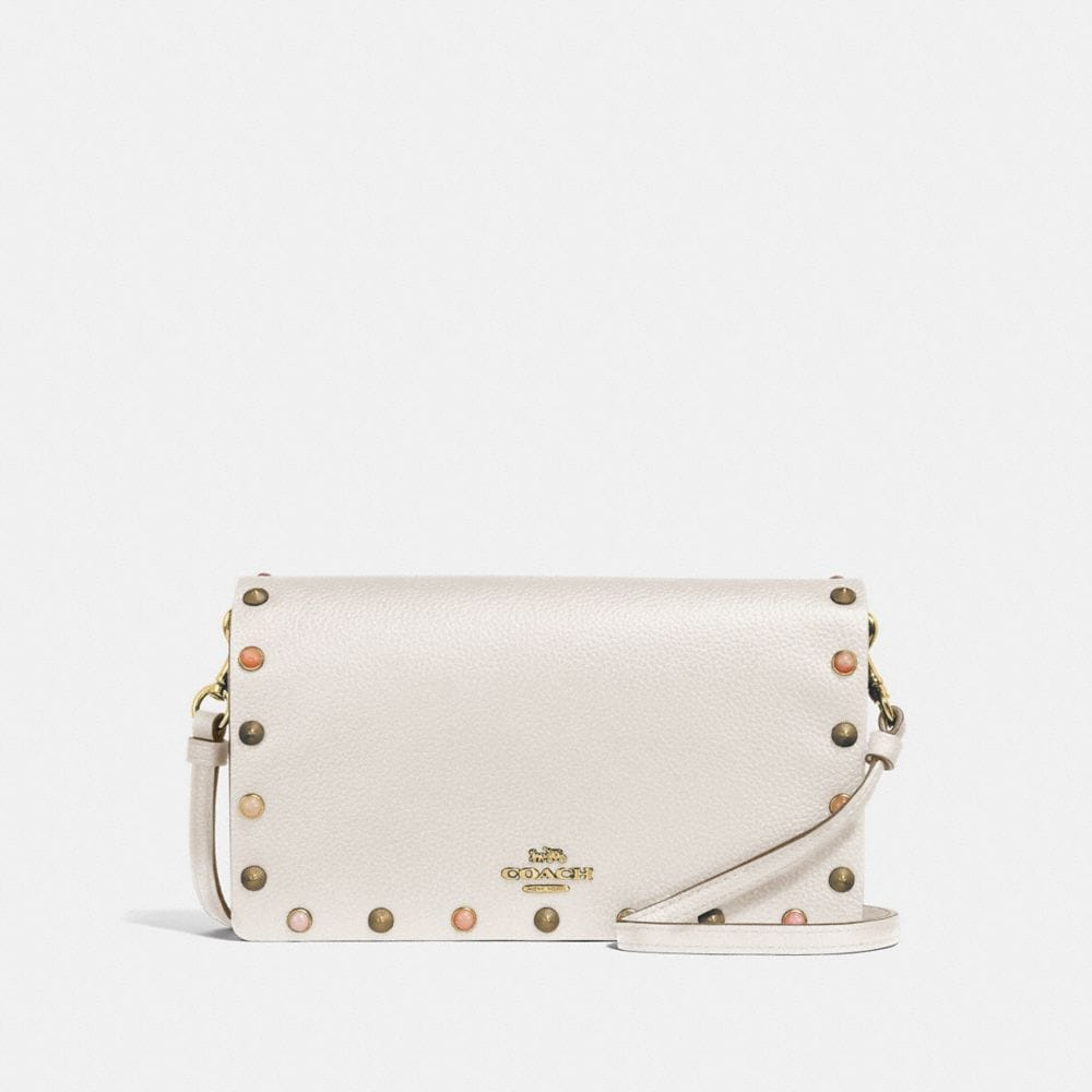 HAYDEN FOLDOVER CROSSBODY CLUTCH WITH RIVETS