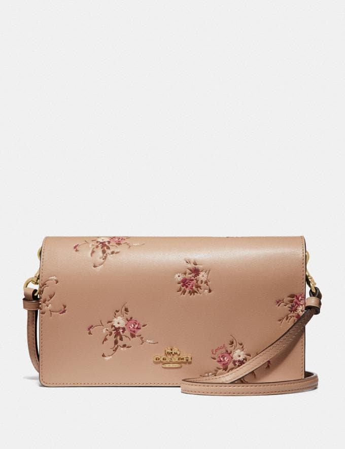 Coach Hayden Foldover Crossbody Clutch With Floral Bundle Print Beechwood Floral/Gold Gifts For Her