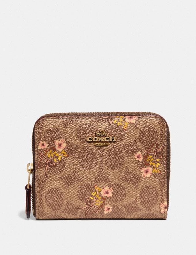 Coach Small Zip Around Wallet in Signature Canvas With Floral Print Tan/Brass