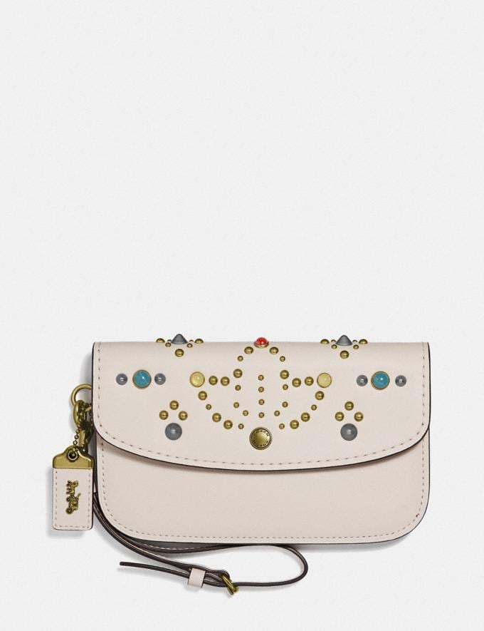 Coach Clutch With Rivets Chalk/Brass Women Wallets & Wristlets Wristlets