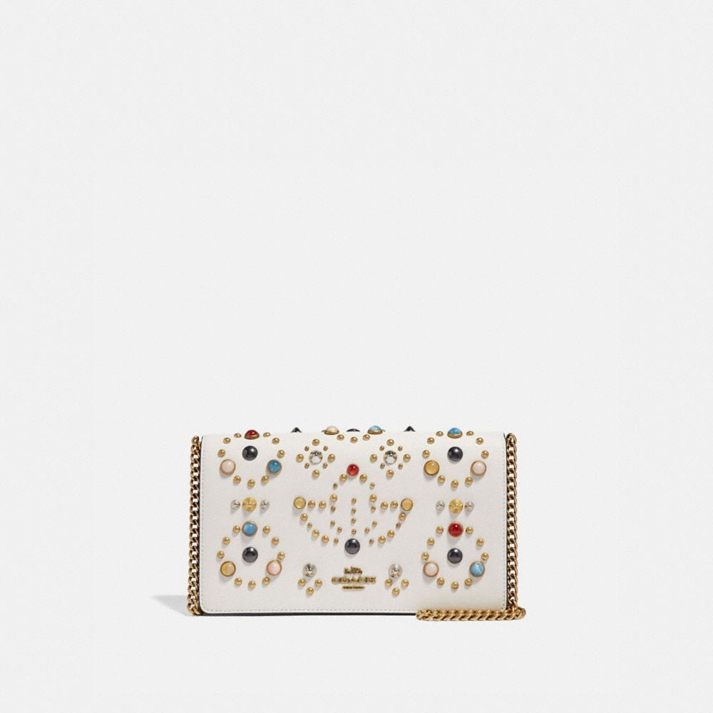 CALLIE FOLDOVER CHAIN CLUTCH WITH RIVETS