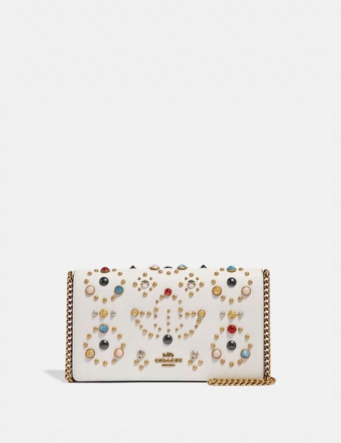 Coach Callie Foldover Chain Clutch With Rivets Chalk/Brass New Featured Online Exclusives