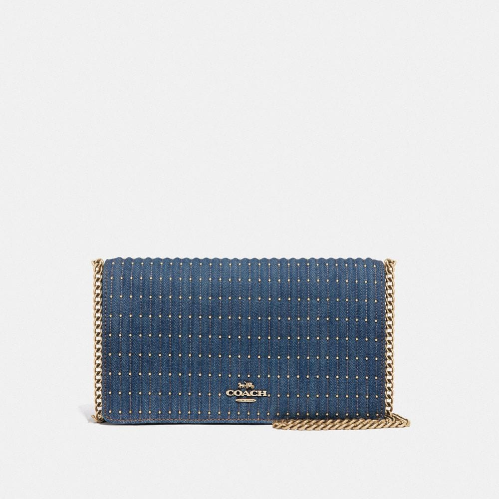 Coach Callie Foldover Chain Clutch With Quilting and Rivets