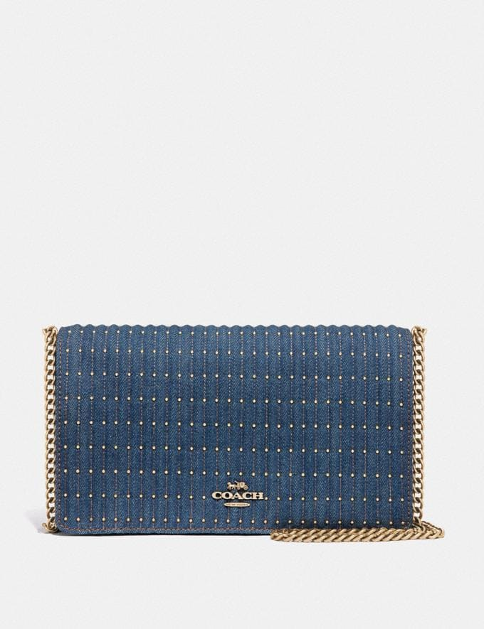 Coach Callie Foldover Chain Clutch With Quilting and Rivets Denim/Brass Women Bags Crossbody Bags