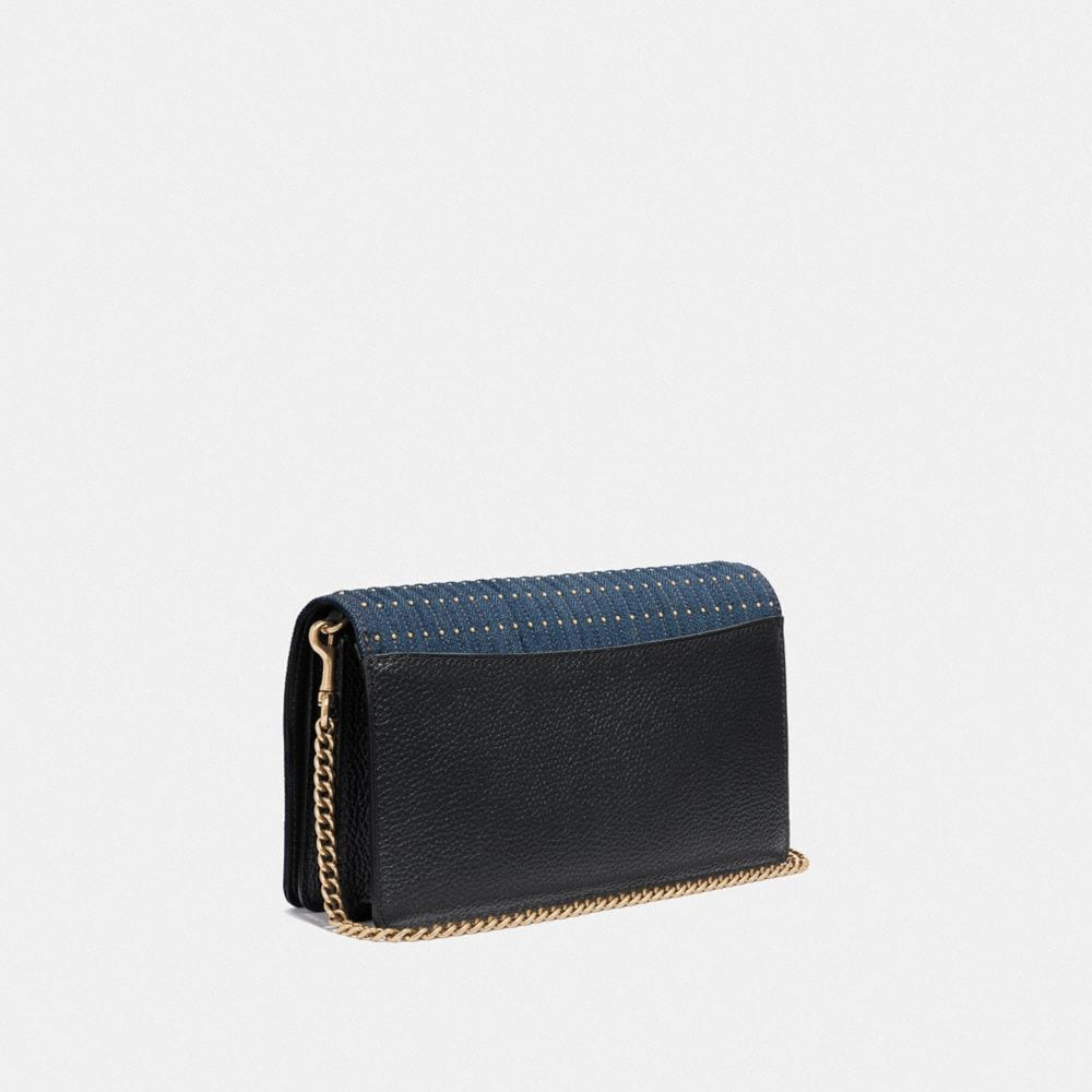 Coach Callie Foldover Chain Clutch With Quilting and Rivets Alternate View 1