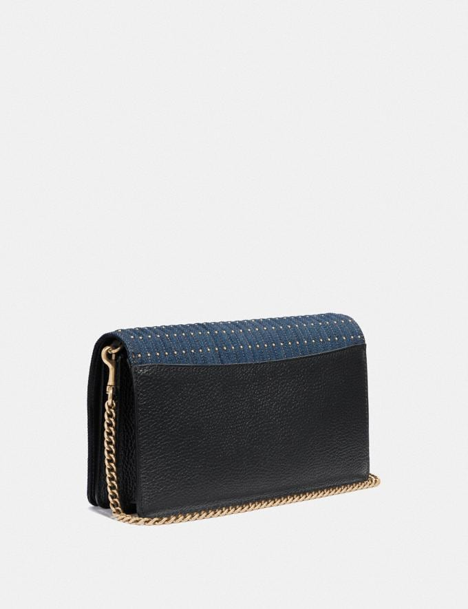 Coach Callie Foldover Chain Clutch With Quilting and Rivets Denim/Brass Women Bags Crossbody Bags Alternate View 1