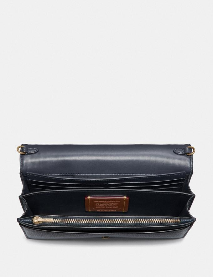 Coach Callie Foldover Chain Clutch With Quilting and Rivets Denim/Brass Women Bags Crossbody Bags Alternate View 2