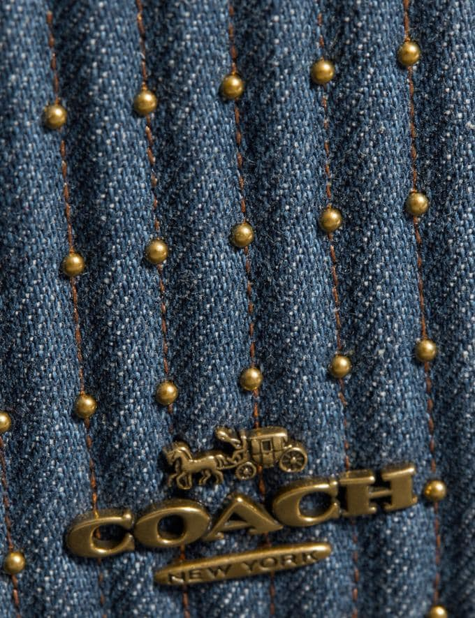 Coach Callie Foldover Chain Clutch With Quilting and Rivets Denim/Brass Women Bags Crossbody Bags Alternate View 4