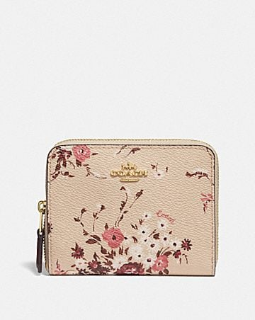 SMALL ZIP AROUND WALLET WITH FLORAL BUNDLE PRINT