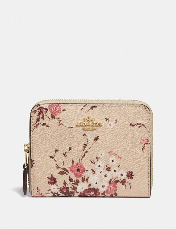 Coach Small Zip Around Wallet With Floral Bundle Print Beechwood Floral Bundle/Gold Women Small Leather Goods Small Wallets