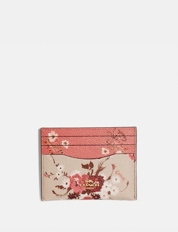 Coach Card Case With Mixed Floral Print Multi/Gold Women Small Leather Goods Card Cases