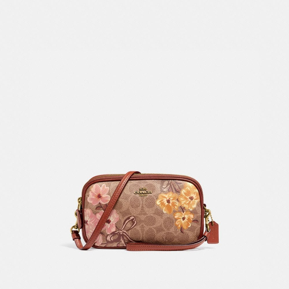 SADIE CROSSBODY CLUTCH IN SIGNATURE CANVAS WITH PRAIRIE FLORAL PRINT
