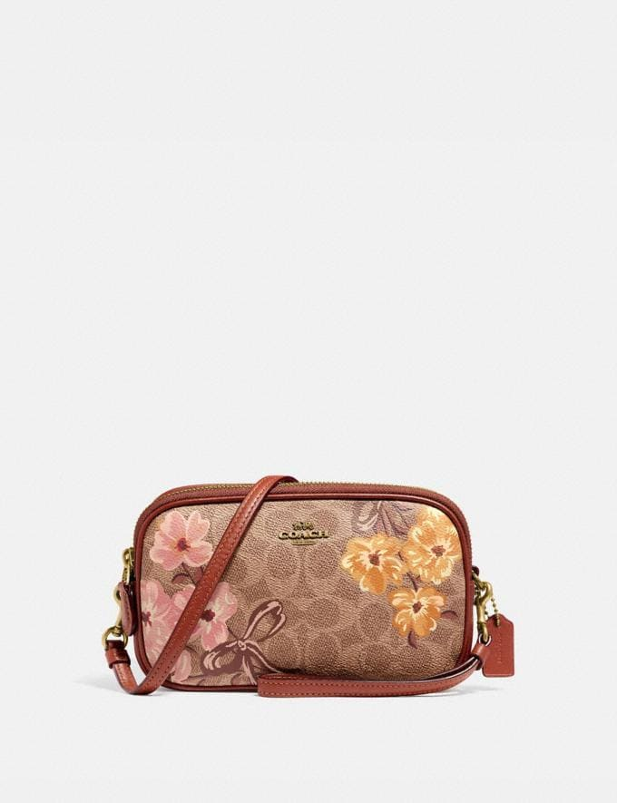 Coach Sadie Crossbody Clutch in Signature Canvas With Prairie Floral Print Tan/Brass New Featured Signature Styles