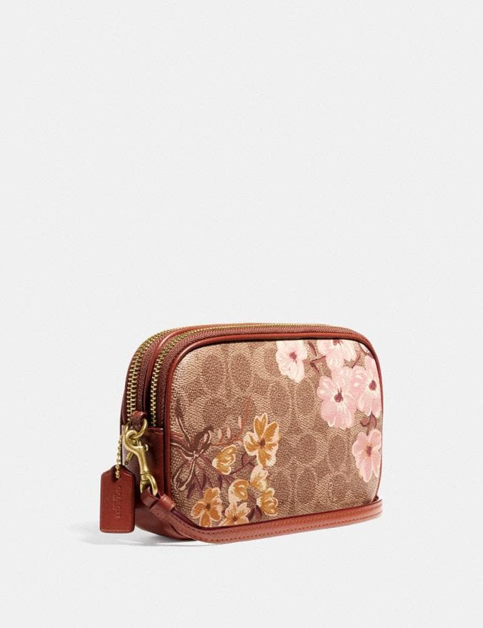 Coach Sadie Crossbody Clutch in Signature Canvas With Prairie Floral Print Tan/Brass New Featured Signature Styles Alternate View 1