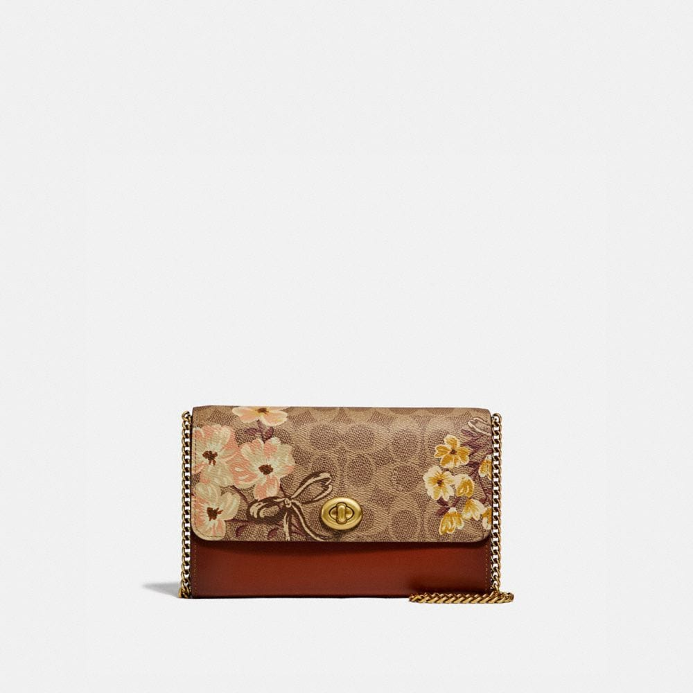marlow turnlock chain crossbody in signature canvas with prairie floral print