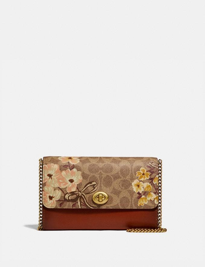 Coach Marlow Turnlock Chain Crossbody in Signature Canvas With Prairie Floral Print Tan/Brass Women Bags Crossbody Bags