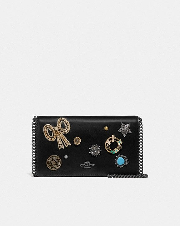Coach CALLIE FOLDOVER CHAIN CLUTCH WITH VINTAGE JEWELRY