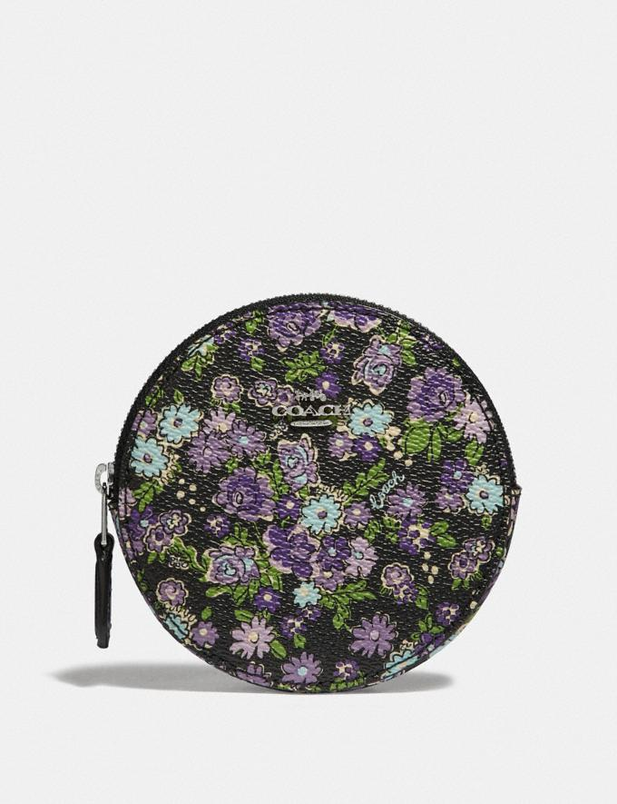 Coach Round Coin Case With Posey Cluster Print Black Posey Print/Silver Women Wallets Small Wallets
