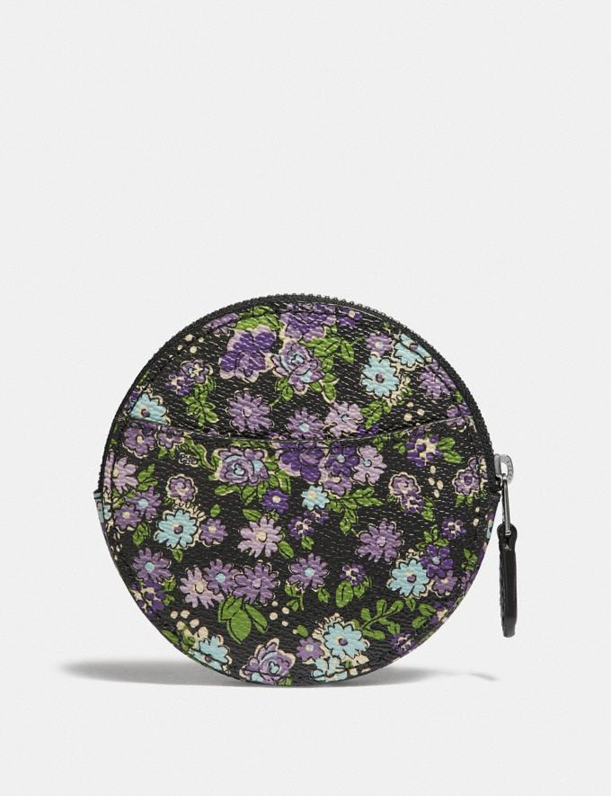 Coach Round Coin Case With Posey Cluster Print Black Posey Print/Silver Women Wallets Small Wallets Alternate View 1