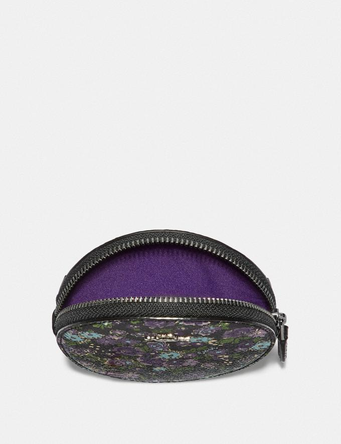 Coach Round Coin Case With Posey Cluster Print Black Posey Print/Silver Women Wallets Small Wallets Alternate View 2