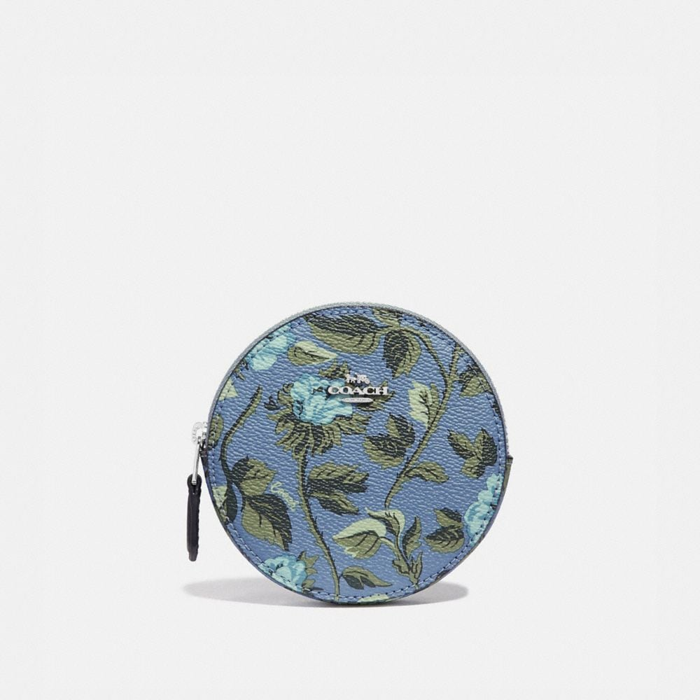 Coach Round Coin Case With Sleeping Rose Print