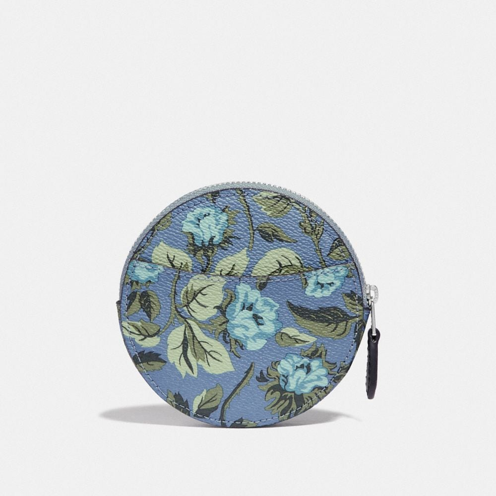 Coach Round Coin Case With Sleeping Rose Print Alternate View 1