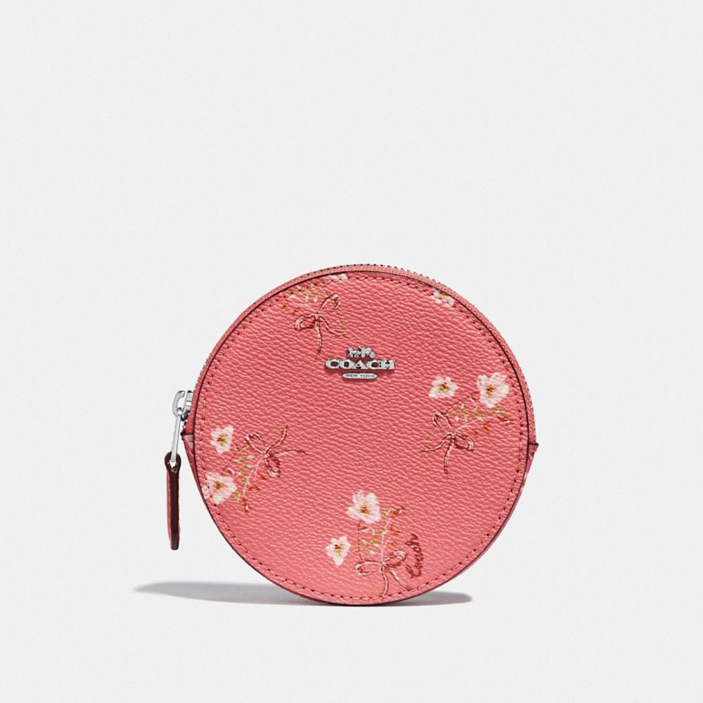Coach ROUND COIN CASE WITH FLORAL BOW PRINT