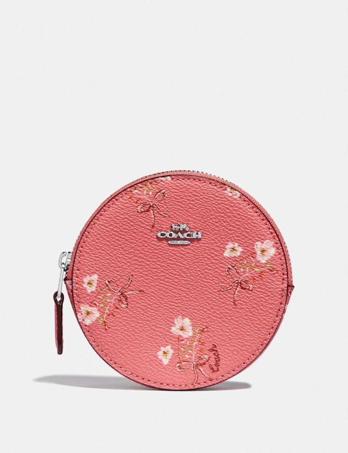 Coach Round Coin Case With Floral Bow Print Bright Coral/Floral Bow/Silver Women Wallets & Wristlets Small Wallets