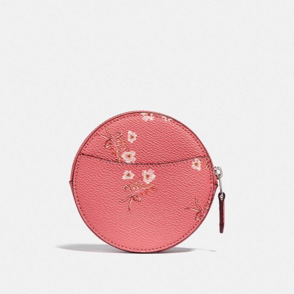 Coach ROUND COIN CASE WITH FLORAL BOW PRINT Alternate View 1