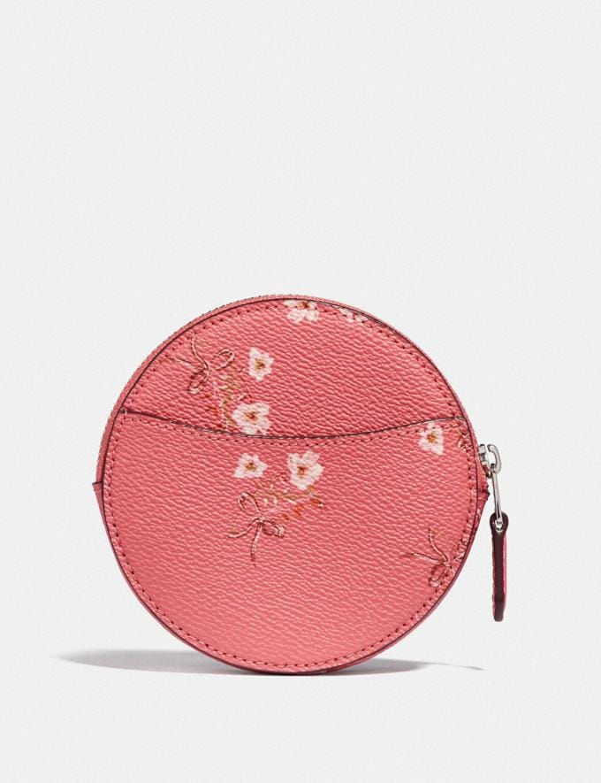 Coach Round Coin Case With Floral Bow Print Bright Coral/Floral Bow/Silver Women Wallets & Wristlets Small Wallets Alternate View 1