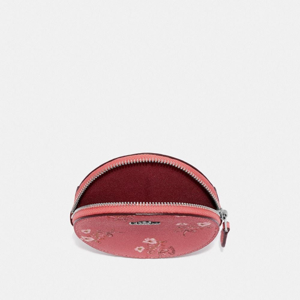 Coach ROUND COIN CASE WITH FLORAL BOW PRINT Alternate View 2
