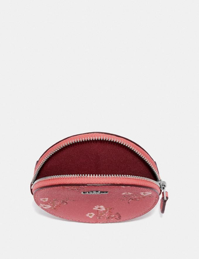 Coach Round Coin Case With Floral Bow Print Bright Coral/Floral Bow/Silver Women Wallets & Wristlets Small Wallets Alternate View 2