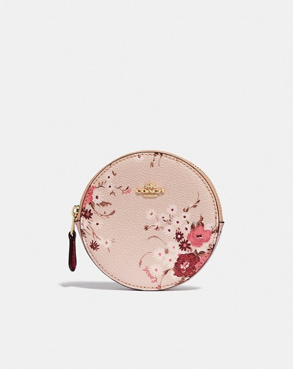 Coach ROUND COIN CASE WITH FLORAL BUNDLE PRINT