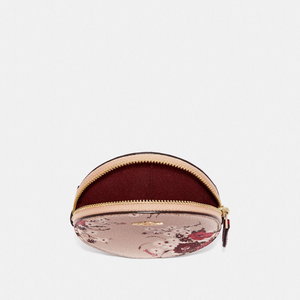 Coach Round Coin Case With Floral Bundle Print Alternate View 2