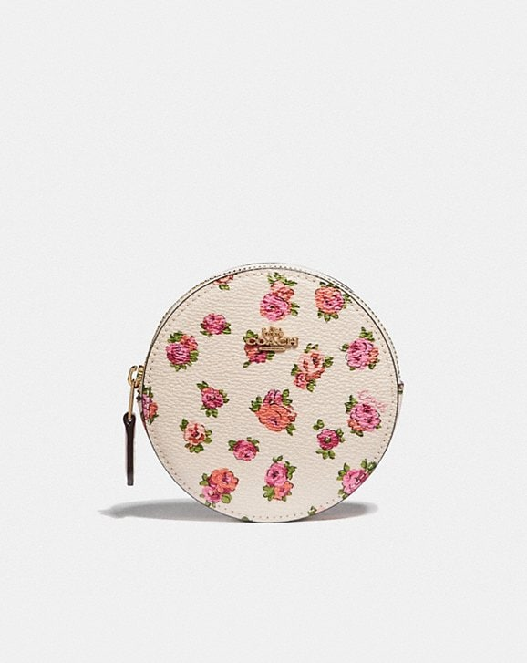 Coach ROUND COIN CASE WITH MINI VINTAGE ROSE PRINT