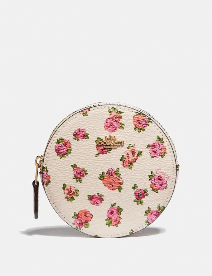 Coach Round Coin Case With Mini Vintage Rose Print Chalk Mini Vintage Rose/Gold Women Wallets & Wristlets Small Wallets