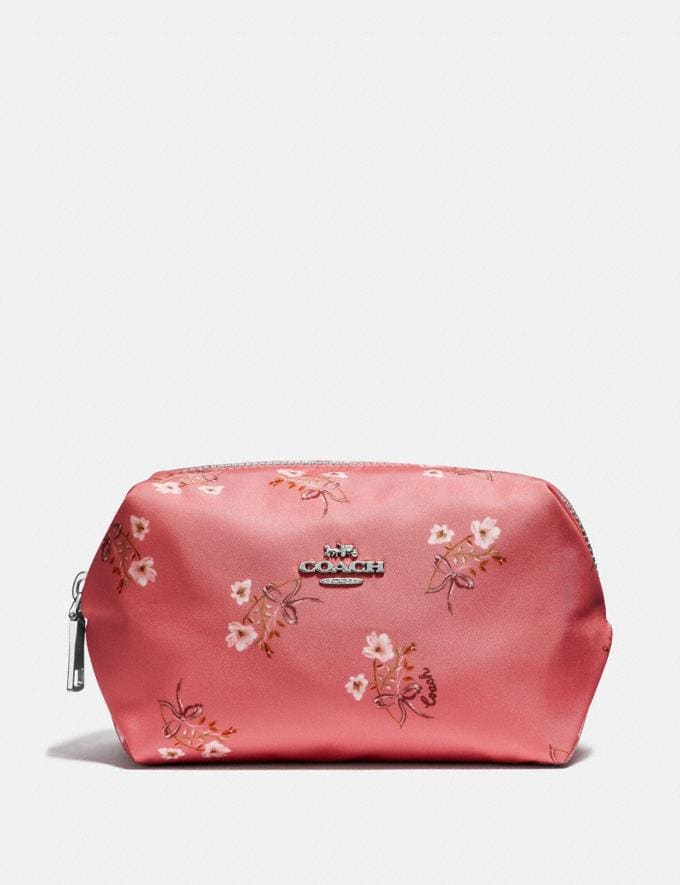 Coach Small Boxy Cosmetic Case With Floral Bow Print Bright Coral/Floral Bow/Silver Women Accessories Cosmetic Cases