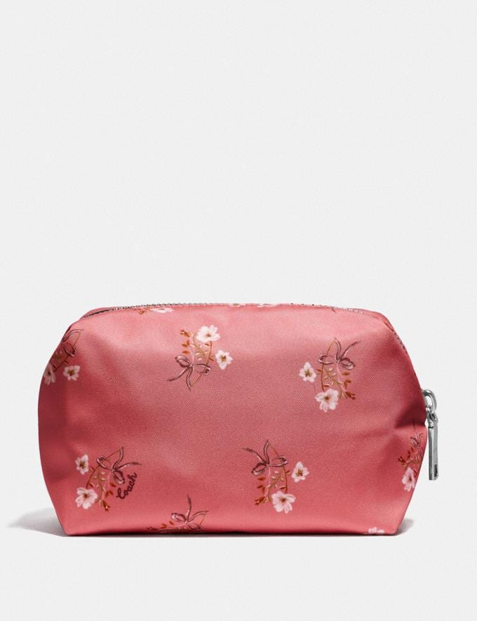 Coach Small Boxy Cosmetic Case With Floral Bow Print Bright Coral/Floral Bow/Silver Women Accessories Cosmetic Cases Alternate View 1