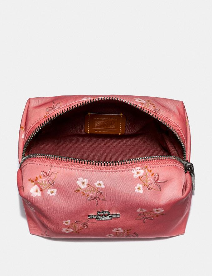 Coach Small Boxy Cosmetic Case With Floral Bow Print Bright Coral/Floral Bow/Silver Women Accessories Cosmetic Cases Alternate View 2