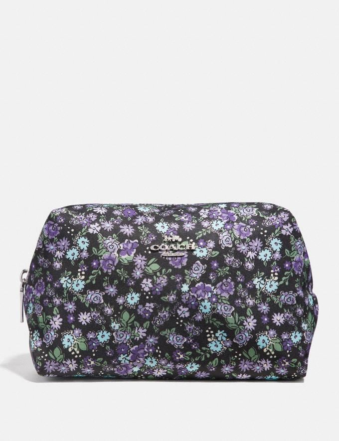 Coach Large Boxy Cosmetic Case With Posey Cluster Print Black Posey Print/Silver Women Accessories Cosmetic Cases
