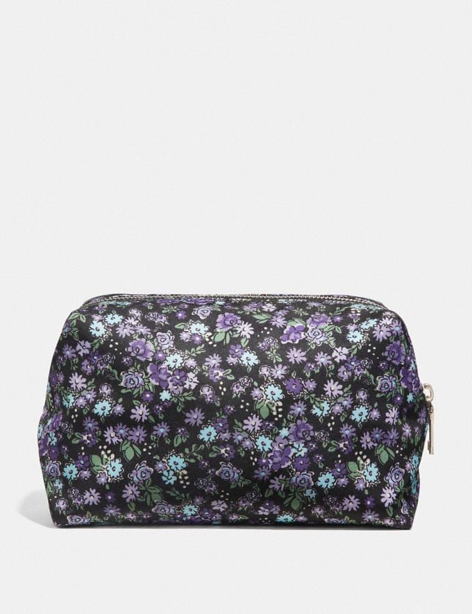 Coach Large Boxy Cosmetic Case With Posey Cluster Print Black Posey Print/Silver Women Accessories Cosmetic Cases Alternate View 1