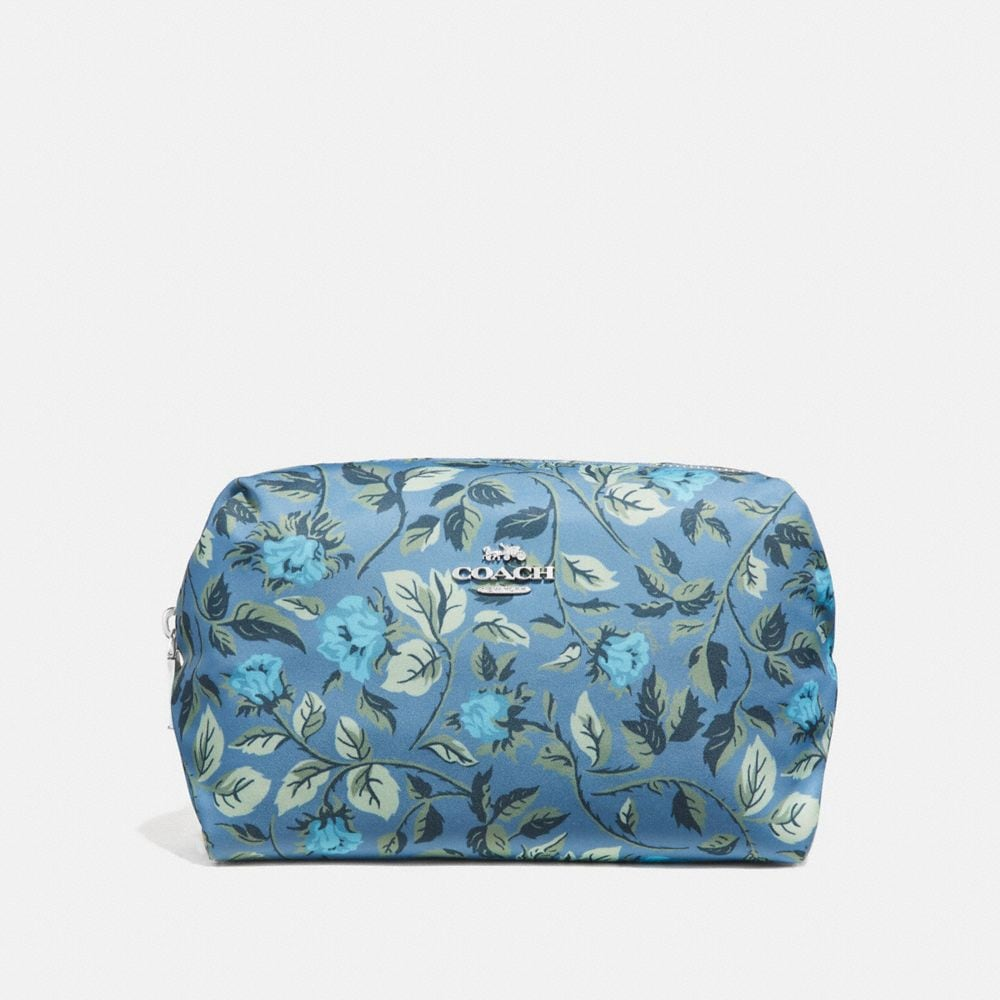 LARGE BOXY COSMETIC CASE WITH SLEEPING ROSE PRINT