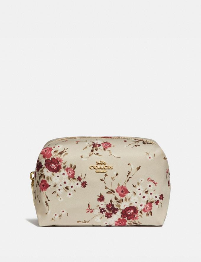 Coach Small Boxy Cosmetic Case With Floral Bundle Print Beechwood Floral Bundle/Gold Women Accessories Cosmetic Cases