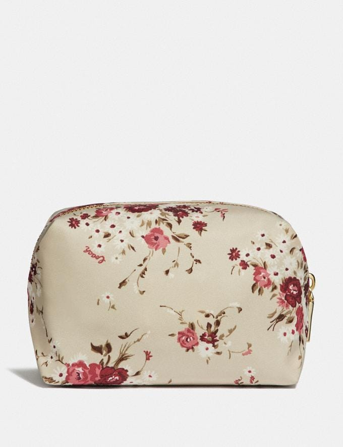 Coach Small Boxy Cosmetic Case With Floral Bundle Print Beechwood Floral Bundle/Gold Women Accessories Cosmetic Cases Alternate View 1