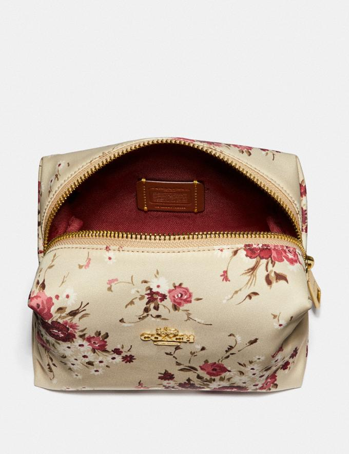 Coach Small Boxy Cosmetic Case With Floral Bundle Print Beechwood Floral Bundle/Gold Women Accessories Cosmetic Cases Alternate View 2