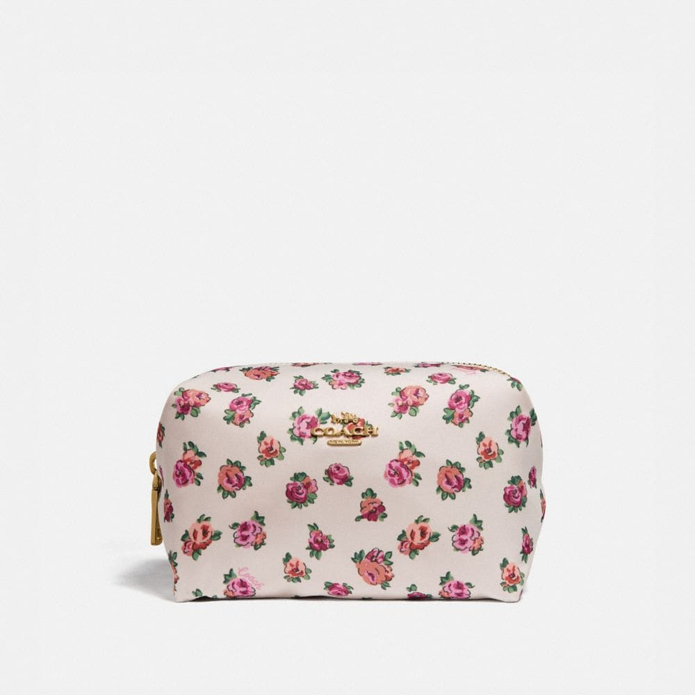 SMALL BOXY COSMETIC CASE WITH MINI VINTAGE ROSE PRINT