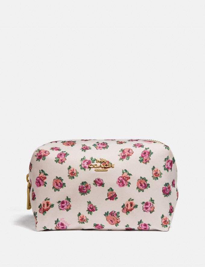 d1fba87aba85 Small Boxy Cosmetic Case With Mini Vintage Rose Print