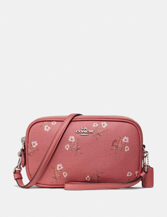 Coach Sadie Crossbody Clutch With Floral Bow Print Bright Coral Floral Bow/Silver