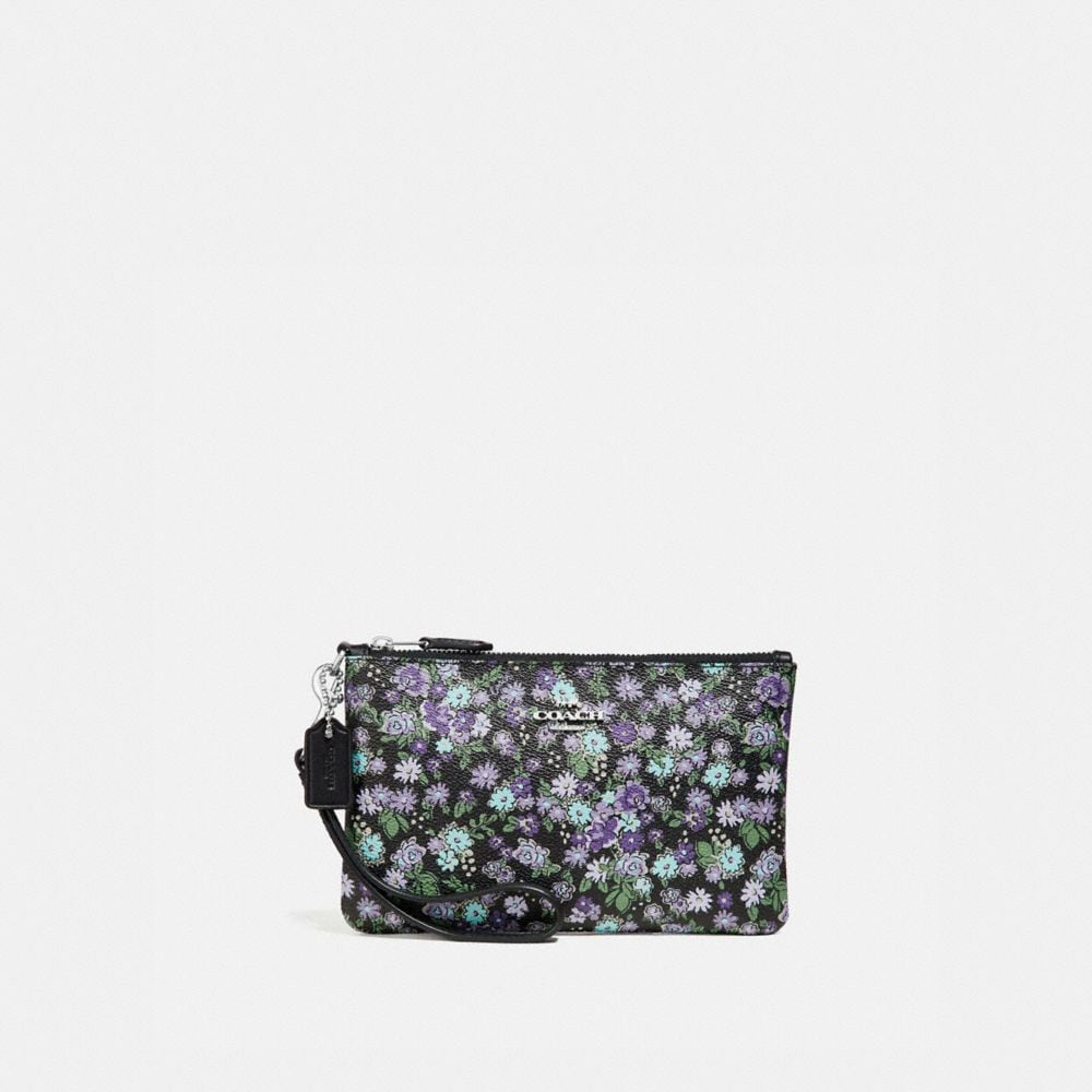 Coach Small Wristlet With Posey Cluster Print